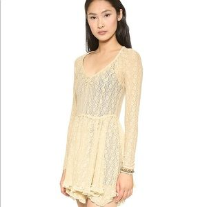Free People Long Sleeve Witchy Lace Skater Dress